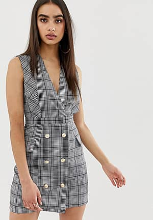 printed pencil dress with button details