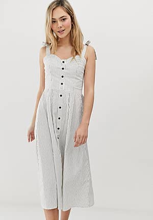 striped button front midi dress