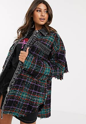 check knitted jacket with padding