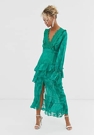 plunge front midi dress with frill detail in green