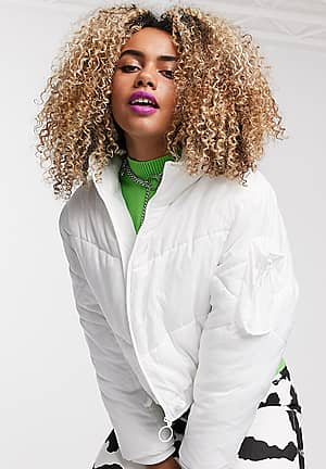 boxy puffer jacket in white