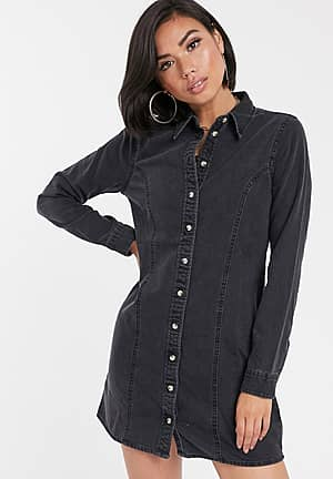 denim fitted western shirt dress in washed black