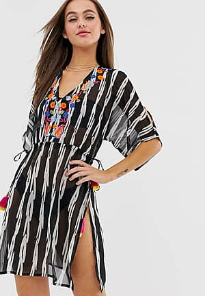 stripe print beach dress
