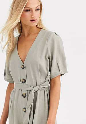 button thru linen dress