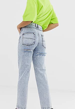 x005 straight leg jeans in acid wash with bum rips