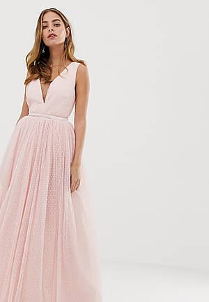 plunge front prom maxi dress in blush