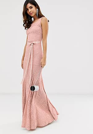 all over lace maxi dress with belt detail