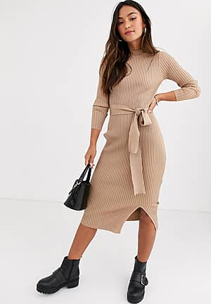tie waist maxi knitted dress in oatmeal