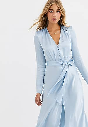 exclusive Meryl satin tie front midi dress