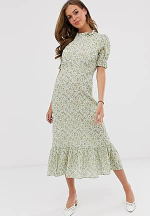 Solene floral frill detail midi dress