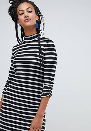 high neck stripe dress in black and white