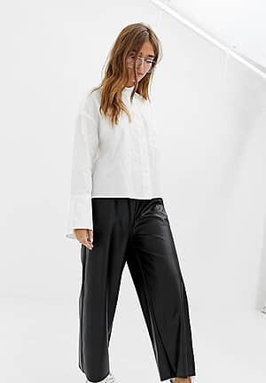 Petite leather look trousers