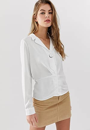 v neck blouse with ruche detail in white