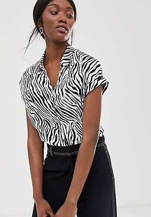 zebra print short sleeve shirt