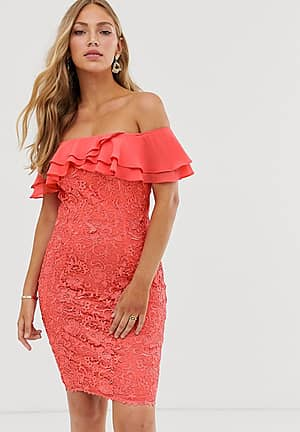 ruffle bardot lace pencil dress in soft coral