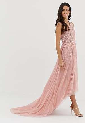 one shoulder embellished high low prom maxi dress in pink