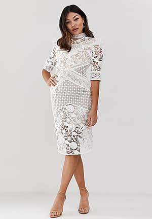 premium all over cutwork lace contrast midi dress with ruffle yoke in white