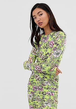 ruched floral jersey bodycon dress