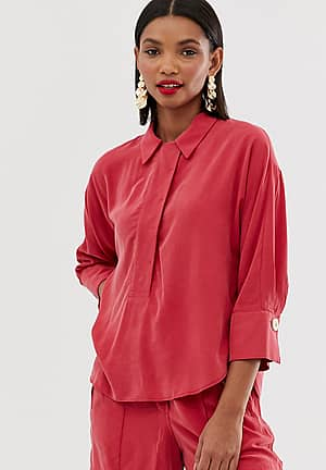 button front shirt in red