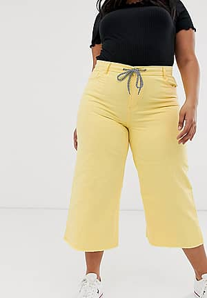 cropped wide leg jean with rope belt detail and raw hem