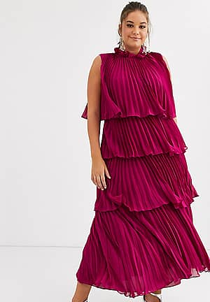 Truly You high neck tiered maxi dress with pleat detail in raspberry