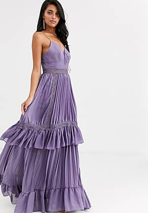 cami strap tiered maxi dress with tie front in mauve