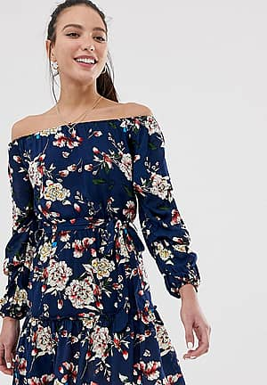 off shoulder skater dress in navy floral