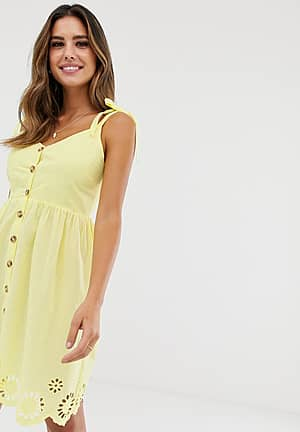 Sarah strappy button beach dress in yellow