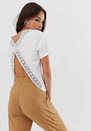 t-shirt with open back and lace trim