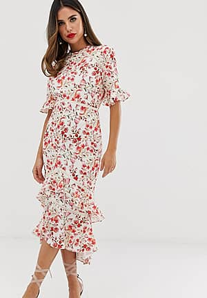 open back midaxi dress with ruffle hem in floral print