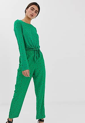triangle dot print peg trousers in green
