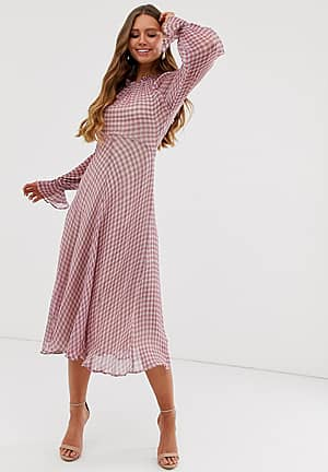 Ayesha high neck check print georgette midi dress