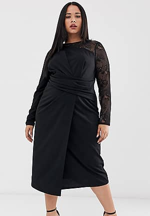 ASOS DESIGN Curve midi pencil dress with cut out and lace insert