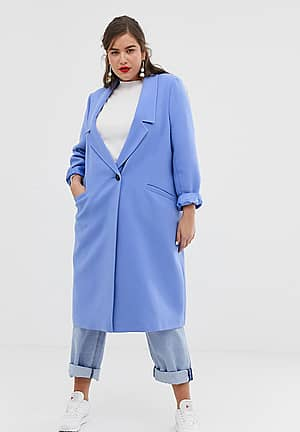 ASOS DESIGN Curve coat with dropped collar