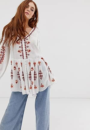 Arianna embroidered tunic blouse