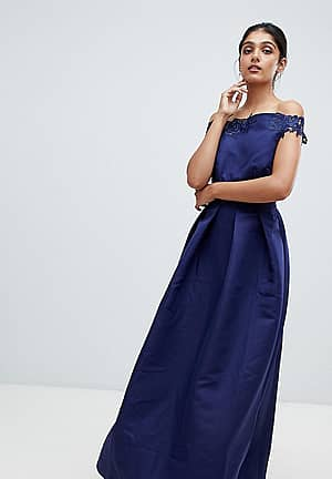 bardot full prom midaxi dress with applique