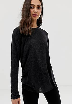 long sleeve t-shirt in linen mix in black