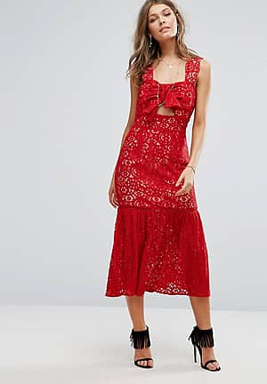 Bow Front Midi Lace Dress