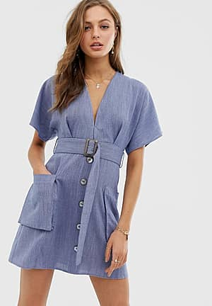 plunge dress with belt and pockets