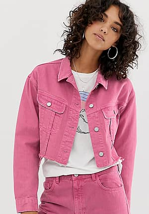inspired cropped denim jacket with raw hem in rose pink wash