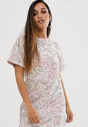 velvet iridescent sequin t shirt dress in pink
