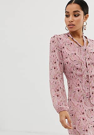 exclusive shift dress with pussybow in pink floral