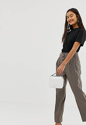 trousers with button front in check