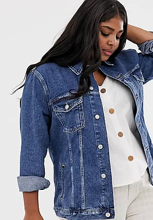 New Look Curve denim jacket in mid blue