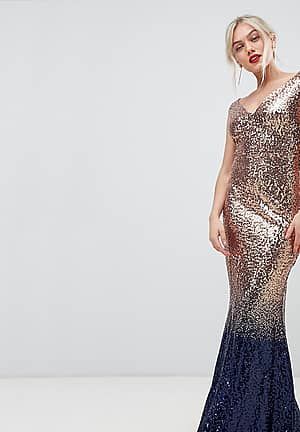 ombre sequin embellished maxi dress