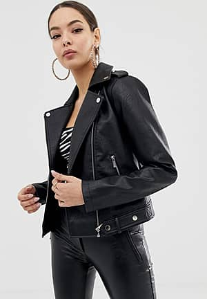 PU biker jacket in black