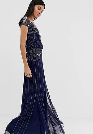 baroque embellished cap sleeve maxi dress in navy
