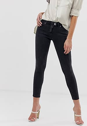 whitby low rise skinny jeans with western fly detail in clean black