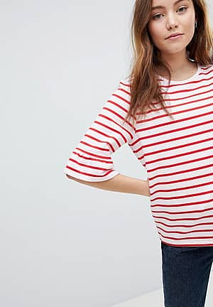 Stripe T-Shirt With Fluted Sleeve
