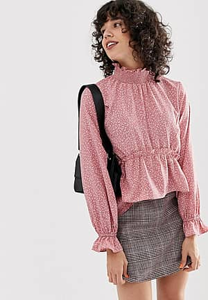 high neck smock blouse in ditsy spot print